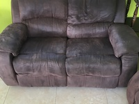 Cocoa Brown Suade Recliner Love Seat