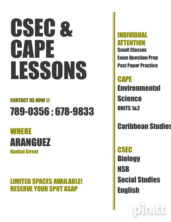 CXC and CAPE Extra Lessons, Individual Attention. Small Classes.