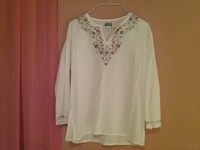 White and brown blouse