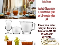 10pcs Glass Set with 6 Hurricane Glasses, 3 Cylinder Jars and Pitcher
