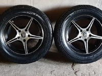 Silver and Black 5 hole Rims and Tyres