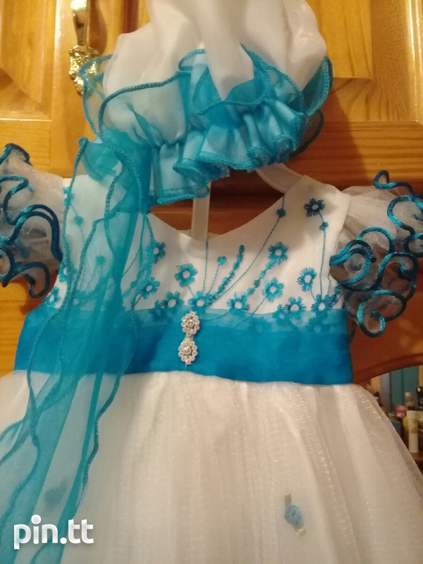 WEDDING/CHRUCH DRESS blue dress comes with HATS 0-13months-2