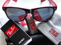 Black with Red Detail Ray Ban Sunglasses