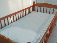 Solid Teak Crib Bed with Mattress