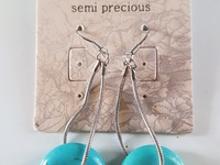 Semi precious genuine Turquoise hanging earings crystals.