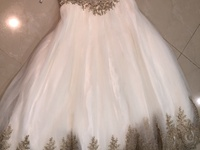 Beautiful White Wedding Dress With Intricate Gold Details