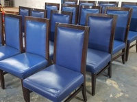Blue Solid Wood and Leather