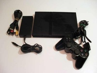 Used PS2 Console for parts, 1 perfect control and 3 games