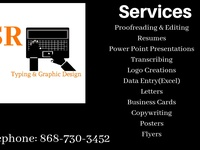 Typing services, logos, posters, flyers, business cards etc.