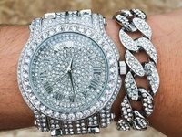 Techno Pave Diamond Silver Watch