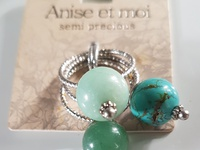 Turquoise ring set of 3x Crystals.
