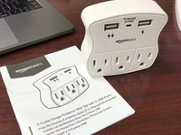 3-Outlet Surge Protector with 2 USB Ports