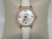 Ladies Coach Rose Gold Watch, Leather Band, Crystal