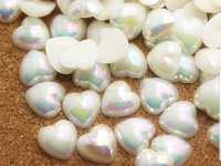 10pcs pearl heart resin nail gems