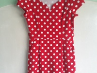 Red and white Poka dots dress