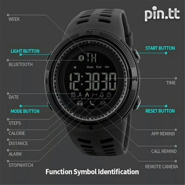 Waterproof Bluetooth Smart Watch G-Shock style, works with any phone-5