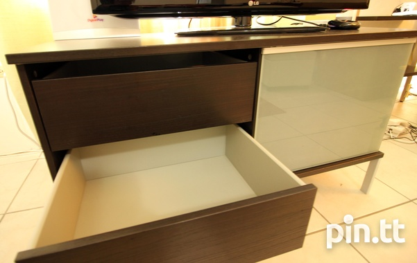 Stylish TV Stand, Glass Shelves, Drawers, Sliding Glass Front-2