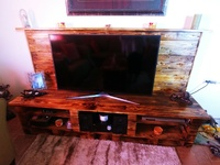 Solid wood rustic TV stand