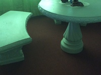 Painted concrete table and chairs