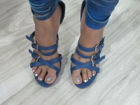 Strappy blue Kim K inspired heels 7