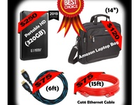 320GB Portable HD-14 inch Amazon Laptop Bag-HDMI Cable-Ethernet Cable