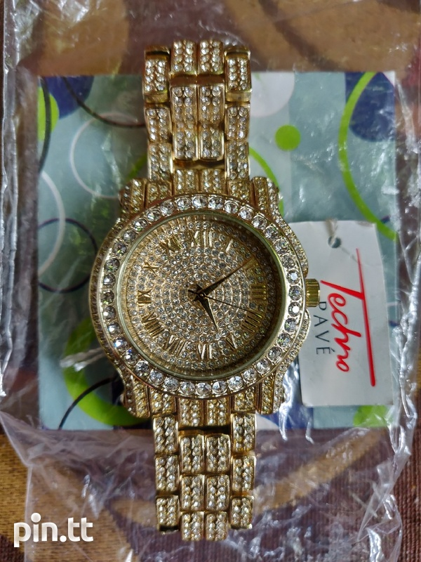 Techno Pave Diamond Silver+Gold Watches-1