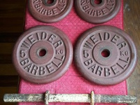 Dumbbell Bar, Original Weider Barbell Iron Plates, Locking Clips