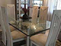 6 Seater Dining table with glass top and 2 Hutches