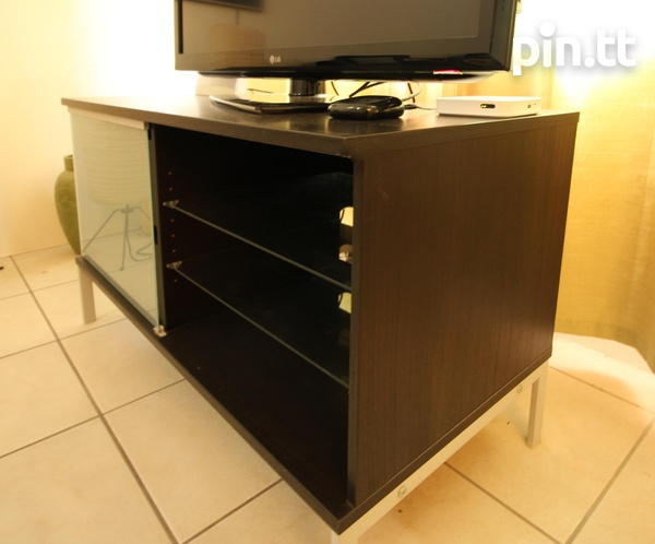 Stylish TV Stand, Glass Shelves, Drawers, Sliding Glass Front-1