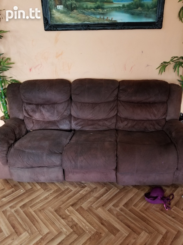 Chocolate brown reclining couch set-1