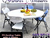 5ft Folding Table and 4 Chairs