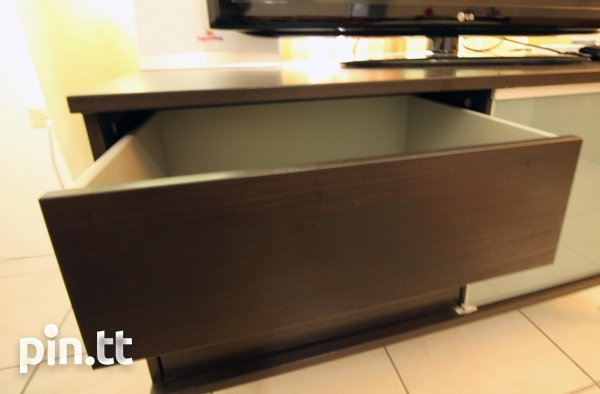 Stylish TV Stand, Glass Shelves, Drawers, Sliding Glass Front-4