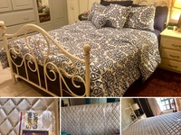 USED white Metal Bed With Mattress And Bass