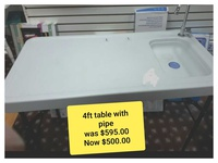 4ft table with sink and pipe