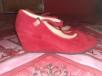 Red suede wedge