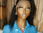 16 inch curly wave lace front wig