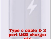 Type c cable and 3 port USB charging block