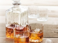 GIBSON JEWELITE 5PC SQ DECANTER SET, CLEAR GLASS