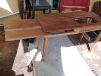 Sewing machine stand build out of cedar wood