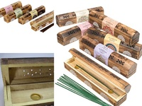 Wooden Incense Box with 10 Incense Sticks