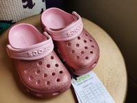 Toddler Girl Pink Glitter Crocs Size C6