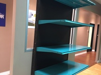 WALL SHELVING UNITS WITH PEGBOARD BACKING