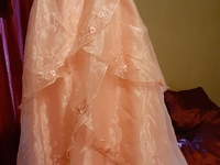 Pink ankle length prom dress