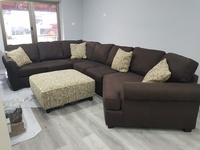 Sectional Chocolate brown, with matching Ottoman and pillows