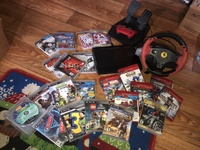 Used PS3 console, control, steering wheel set plus games