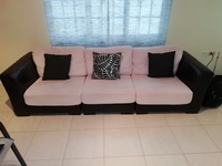 Three seat sofa with comfortable microfiber cushions