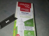Several types of baby bottles Avent and Playtex brands