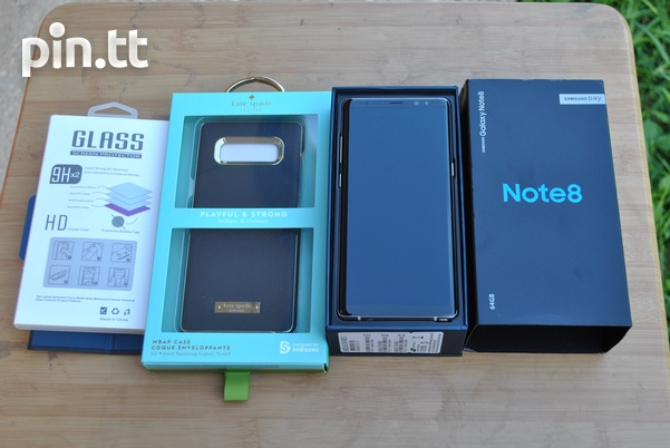 New Samsung Note 8 with Kate spade case, tempred glass and 96GB space-1