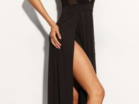 Black Halter Thigh Slit Dress