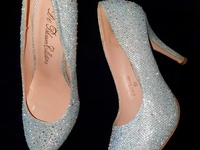 Silver Pumps with Iridescent Rhinestones